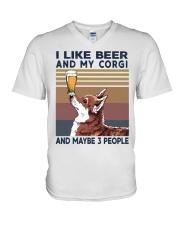 BEER AND CORGI V-Neck T-Shirt thumbnail
