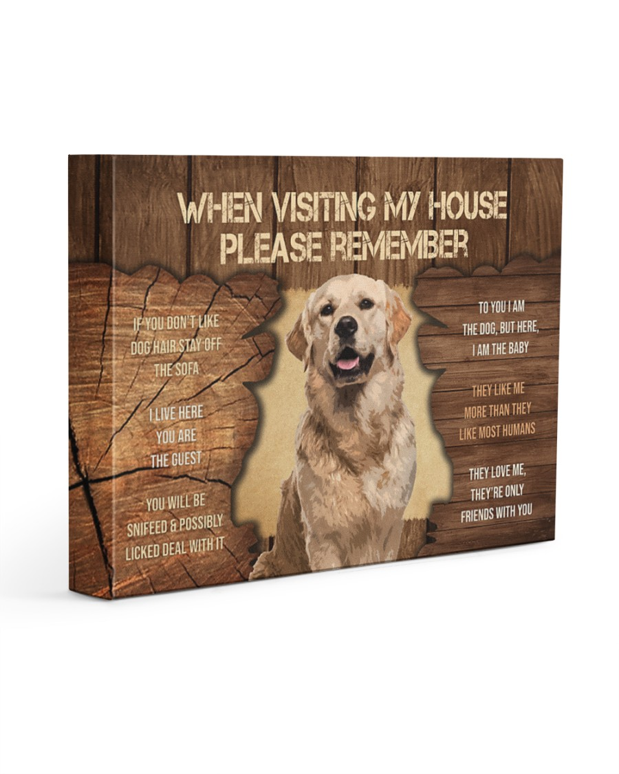Visit home Golden Retriever 14x11 Gallery Wrapped Canvas Prints