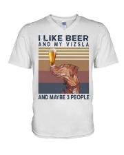 Beer and Vizsla V-Neck T-Shirt thumbnail