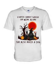 Witch Wine Doberman Pinscher V-Neck T-Shirt thumbnail