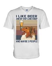 Beer and Shetland Sheep V-Neck T-Shirt thumbnail