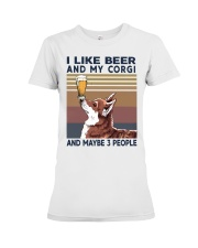 I LIKE BEER AND CORGI Premium Fit Ladies Tee thumbnail