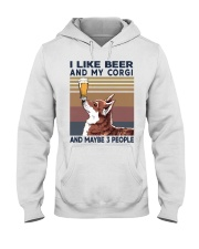 I LIKE BEER AND CORGI Hooded Sweatshirt thumbnail