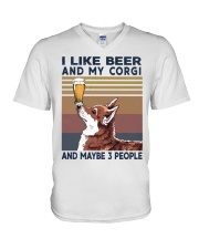 I LIKE BEER AND CORGI V-Neck T-Shirt thumbnail
