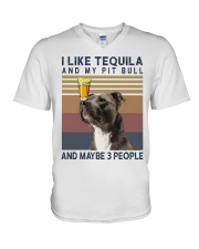 Tequila and Pit Bull V-Neck T-Shirt thumbnail