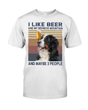 I like beer and my bernese mountain Classic T-Shirt front