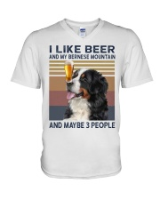 I like beer and my bernese mountain V-Neck T-Shirt thumbnail
