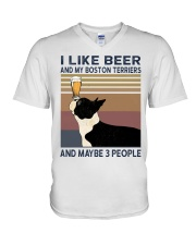 Beer and Boston Terriers V-Neck T-Shirt thumbnail