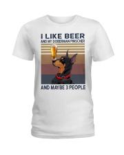 Beer and Doberman Pinscher Ladies T-Shirt thumbnail