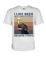 beer and Black Labrador V-Neck T-Shirt thumbnail