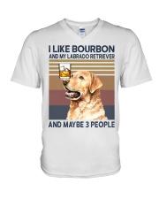 Bourbon and Labrado Retriever V-Neck T-Shirt thumbnail