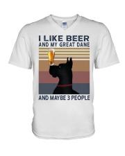 Beer and Great Dane V-Neck T-Shirt thumbnail