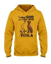 Vizsla Asked God Hooded Sweatshirt front