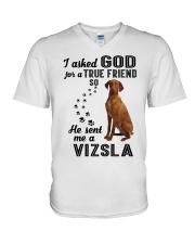 Vizsla Asked God V-Neck T-Shirt thumbnail