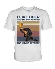 I like beer and my Dachshund V-Neck T-Shirt thumbnail