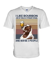 Bourbon and English Springer Spaniel V-Neck T-Shirt thumbnail