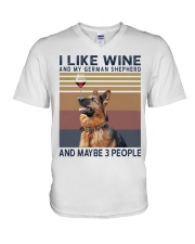 Wine and German Shepherd V-Neck T-Shirt thumbnail
