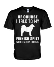Finnish Spitz MenX27S Pr 17 V-Neck T-Shirt tile