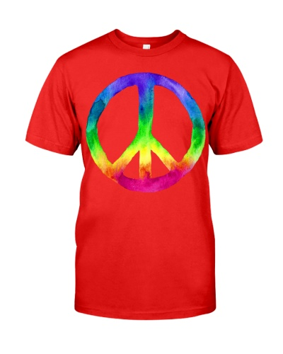 Rainbow Watercolor Tie Dye Peace Sign