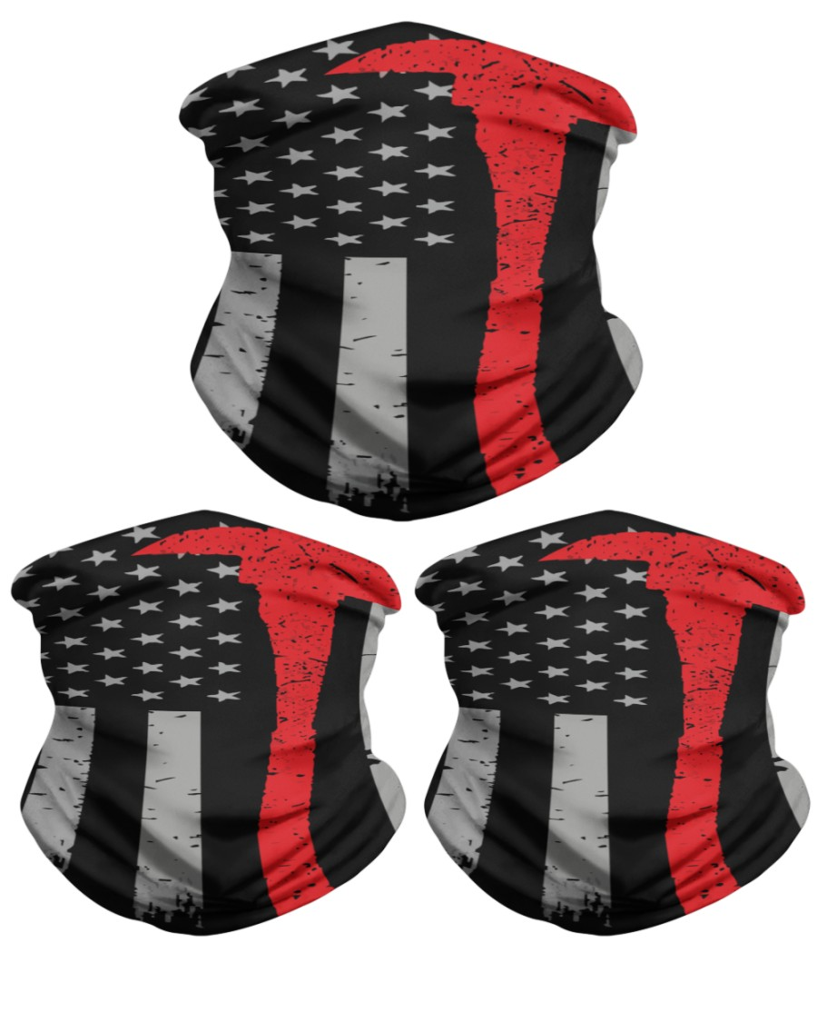 Thin Red Line Flag Firefighter Axe Neck Gaiter - 3 Pack