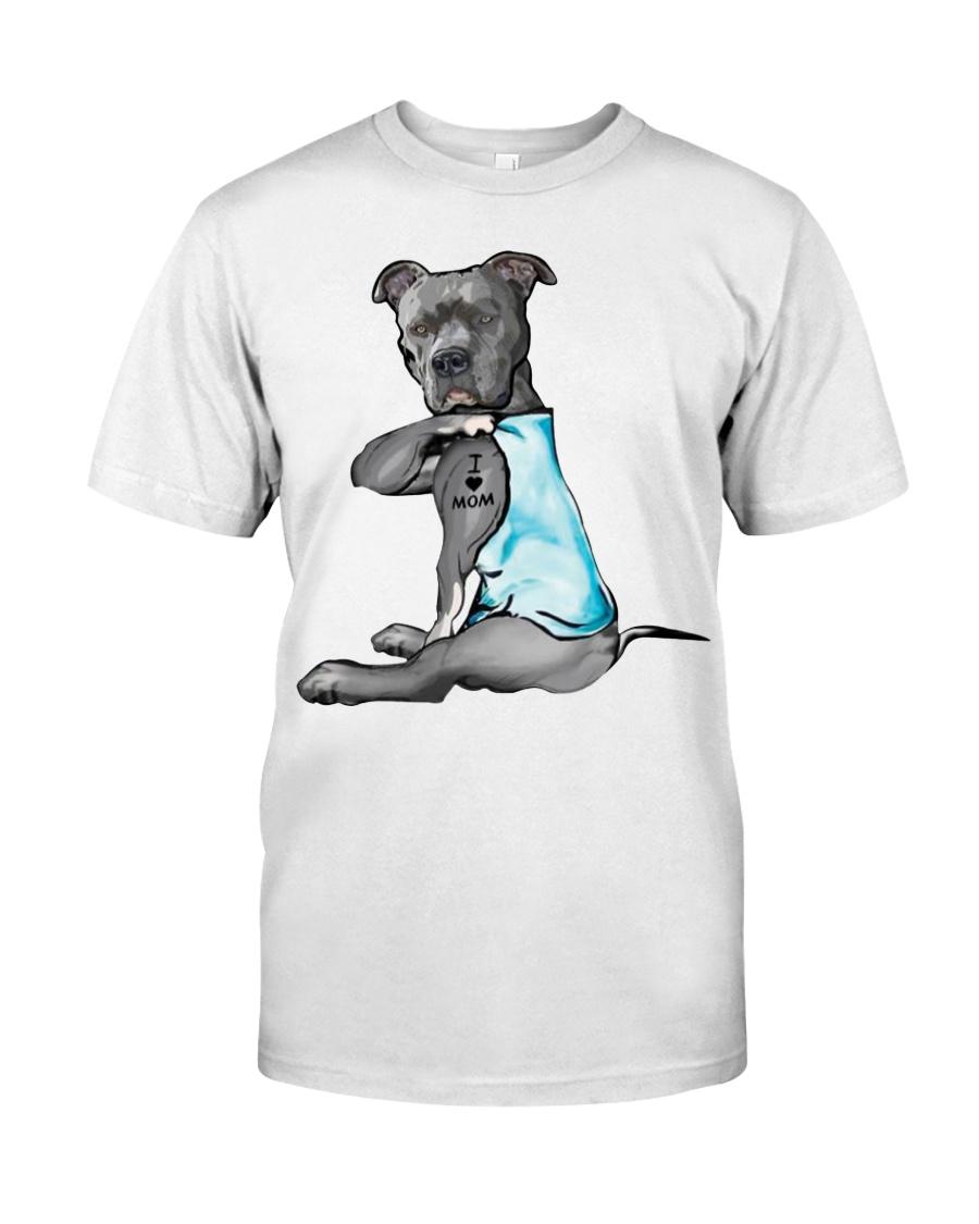 Pitbull Dog I love Mom shirt Classic T-Shirt