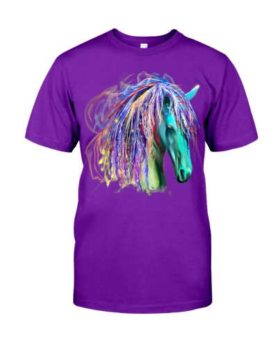 Colorful Native Rainbow Tribal Horse Head Shirt