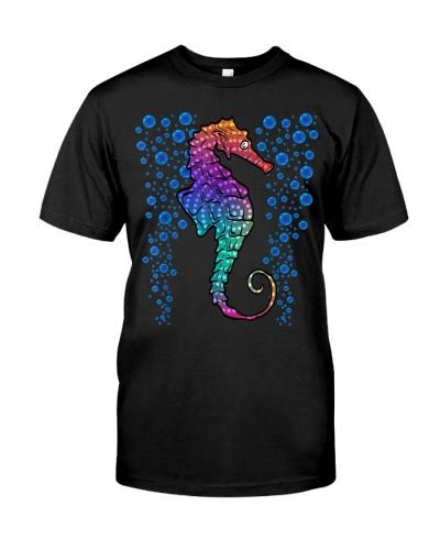 Colorful Sea Horse Print Ocean Tshirt TShirt