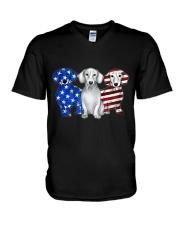 Dachshund Independence Day V-Neck T-Shirt thumbnail