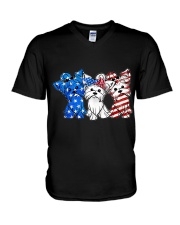 Yorkshire Terrier Independence Day V-Neck T-Shirt thumbnail