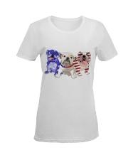 Bulldog Independence Day Ladies T-Shirt women-premium-crewneck-shirt-front