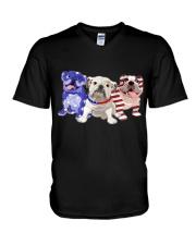 Bulldog Independence Day V-Neck T-Shirt thumbnail