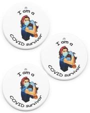 I am a Covid Survivor Circle ornament - 3 pieces (porcelain) front