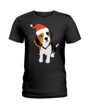 Beagle Santa Hat Shirt Merry Christmas Beagle Love Ladies T-Shirt thumbnail