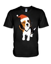 Beagle Santa Hat Shirt Merry Christmas Beagle Love V-Neck T-Shirt thumbnail