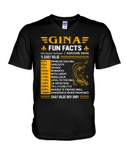 Gina Fun Facts V-Neck T-Shirt thumbnail