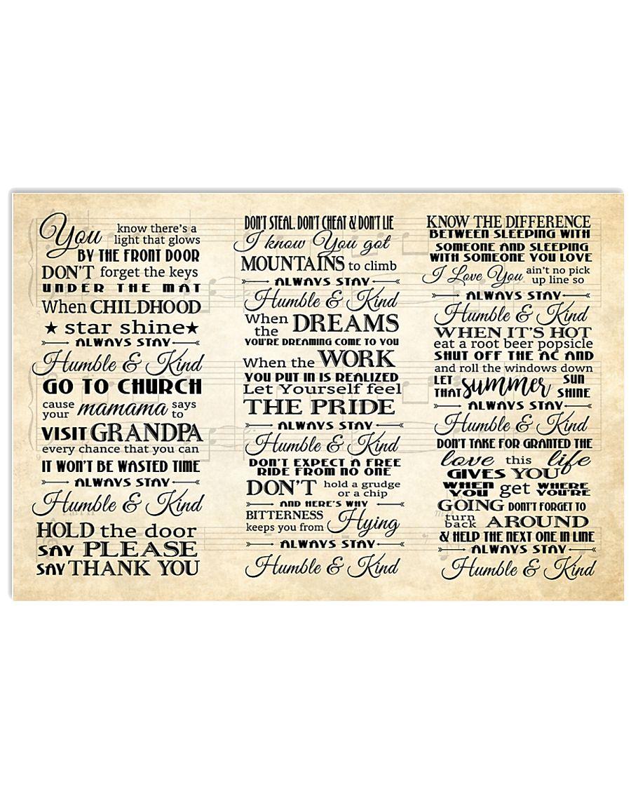 Humble and Kind Lyrics Tim McGraw 24x16 Poster