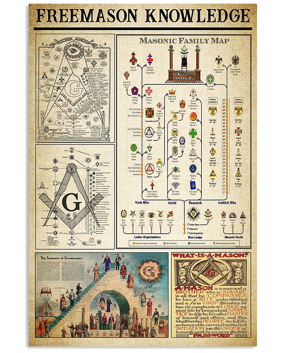 Freemason Knowledge Black White Satin Portrait 11x17 Poster