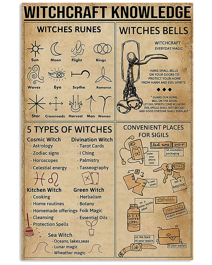 Witchcraft Knowledge Poster Witches Rune Poster  11x17 Poster