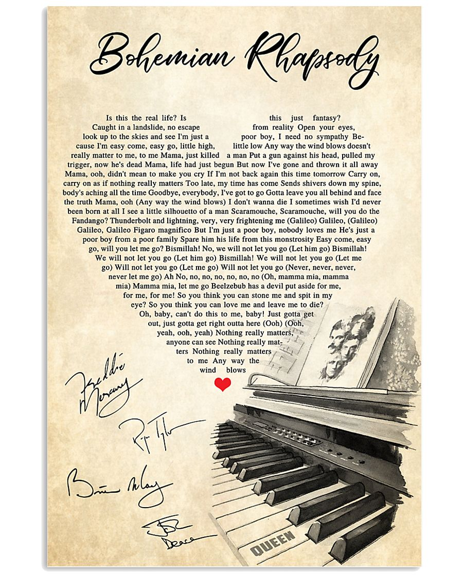 Bohemian Rhapsody Lyrics Satin Portrait Poster 11x17 Poster