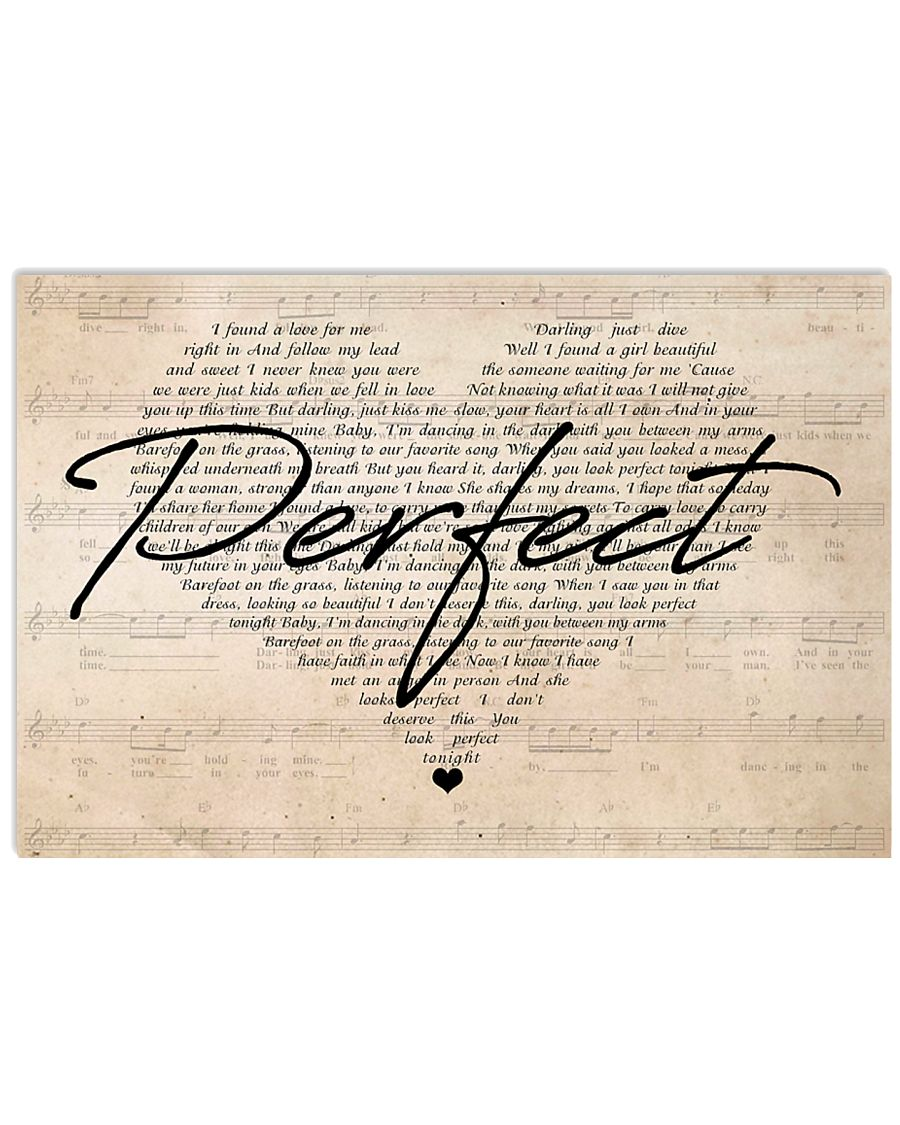 Ed Sheeran Perfect Lyrics Heart 24x16 Poster