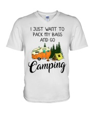 I JUST WANT TO PACK MY BAGS AND GO CAMPING V-Neck T-Shirt thumbnail
