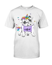 Adorable Puppy Pug In A Bright Colored Costume Of Classic T-Shirt thumbnail