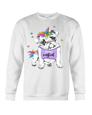 Adorable Puppy Pug In A Bright Colored Costume Of Crewneck Sweatshirt thumbnail