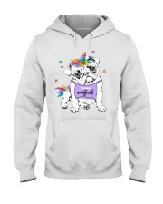 Adorable Puppy Pug In A Bright Colored Costume Of Hooded Sweatshirt thumbnail