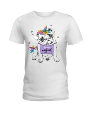 Adorable Puppy Pug In A Bright Colored Costume Of Ladies T-Shirt thumbnail