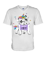 Adorable Puppy Pug In A Bright Colored Costume Of V-Neck T-Shirt thumbnail