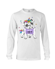 Adorable Puppy Pug In A Bright Colored Costume Of Long Sleeve Tee thumbnail
