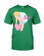 Angry Baby Cupid Holding A Heart Premium Fit Mens Tee front