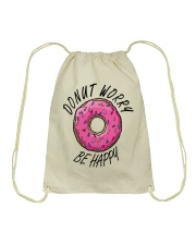 Donut Worry Be Happy Drawstring Bag thumbnail