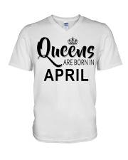Queen are born in April Ladies T-Shirt V-Neck T-Shirt thumbnail